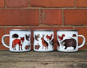 Woodland Animals enamel mug by Alice Draws The Line, forest gift, enamel mug with Badger, Fox, Hare, Red Squirrel, Grey Squirrel, Wood Mouse, Rabbit and Hedgehog illustrations