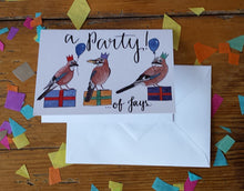 Load image into Gallery viewer, Party of Jays Greeting Card featuring three birds with party hats and presents, perfect for a party invitation! By Alice Draws The Line