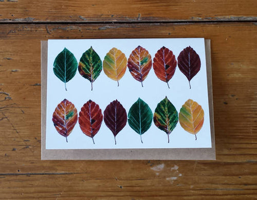 Beech Leaves Greeting card by Alice Draws The Line, fall leaves