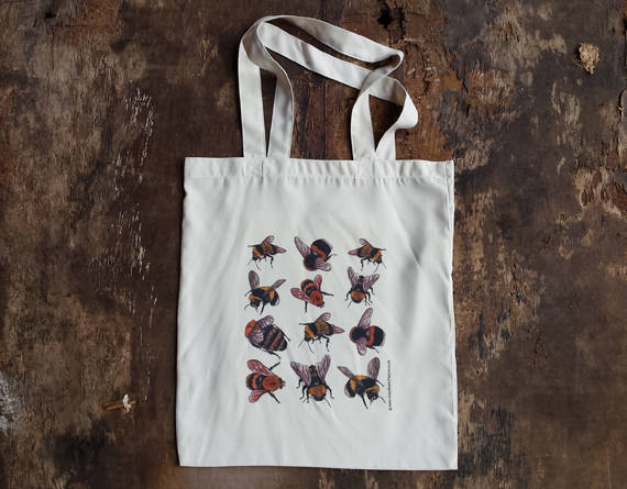Bee tote bag with bee illustrations by Alice Draws The Line