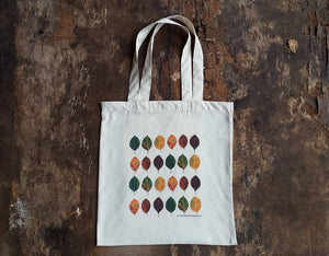 Beech Leaves Autumn tote bag by Alice Draws The Line, 100% recycled, reusable bag. Many designs available including botanical illustrations