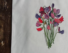Load image into Gallery viewer, Sweet Peas Bouquet bag by Alice Draws The Line, 100% recycled, reusable bag. A choice of designs available including botanical illustrations