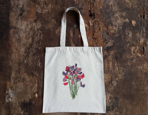 Sweet Peas Bouquet bag by Alice Draws The Line, 100% recycled, reusable bag. A choice of designs available including botanical illustrations