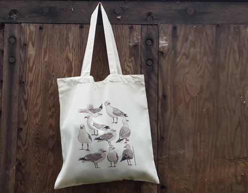 Seagulls Tote bag by Alice Draws The Line, 100% recycled, reusable bag. A choice of designs available including botanical illustrations