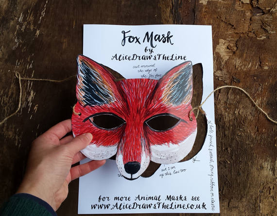 Fox mask or Badger mask by Alice Draws the Line - illustrated woodland animal face to cut out, assemble and dress up in! children or adults