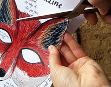 Load image into Gallery viewer, Fox mask or Badger mask by Alice Draws the Line - illustrated woodland animal face to cut out, assemble and dress up in! children or adults