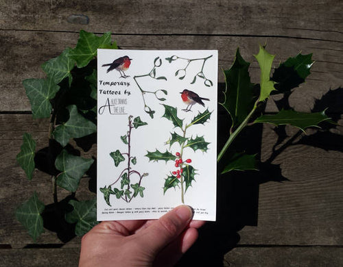 Christmas Temporary Tattoos by Alice Draws The Line;botanical illustrations of Holly, Ivy, Mistletoe & Robins, perfect for Christmas Parties