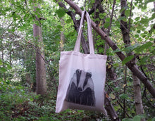 Load image into Gallery viewer, Badger print tote bag by Alice Draws The Line, 100% recycled, reusable bag. A choice of designs available including botanical illustrations