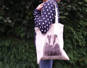 Badger print tote bag by Alice Draws The Line, 100% recycled, reusable bag. A choice of designs available including botanical illustrations
