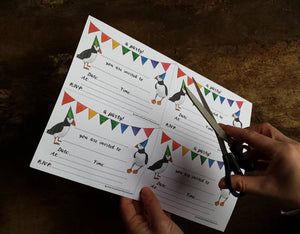 Puffin & bunting Printable party invites
