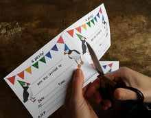Load image into Gallery viewer, Puffin & bunting Printable party invites