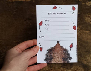 Hedgehog Party Invitations by Alice Draws The Line - printed and ready for you to add the details of your event. A6 postcard size, two sided