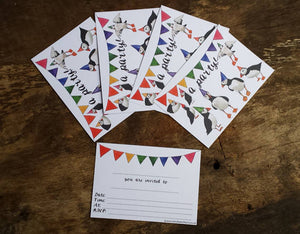 Puffin and Bunting Party Invitations