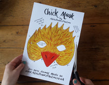 Load image into Gallery viewer, Printable Easter Chick mask by Alice Draws the Line -an illustrated chicken face that you download, print, cut out & wear!children or adults