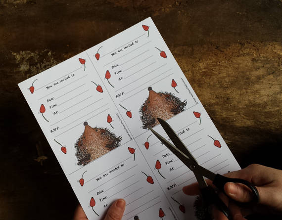 Printable party invites by Alice Draws the Line - 4 Hedgehog invitations on an A4 downloadable sheet, woodland animal party invitations