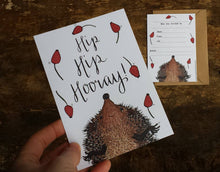 Load image into Gallery viewer, Hedgehog Party Invitations by Alice Draws The Line - printed and ready for you to add the details of your event. A6 postcard size, two sided