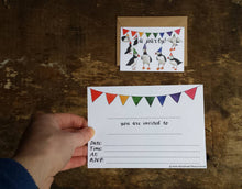 Load image into Gallery viewer, Puffin and Bunting Party Invitations