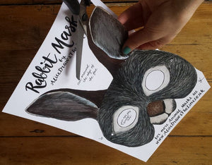 Printable Easter Bunny mask by Alice Draws the Line -an illustrated Rabbit face that you download, print, cut out & wear! children or adults