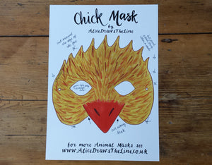 Printable Easter Chick mask by Alice Draws the Line -an illustrated chicken face that you download, print, cut out & wear!children or adults