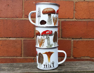 Enamel Mug; Fungi / Mushroom illustrations by Alice Draws The line; a camping, hiking, walking, countryside tin cup to accompany your flask!