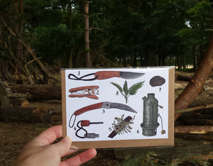 Bushcraft greeting card by Alice Draws the Line, Bushcraft kit