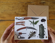 Load image into Gallery viewer, Bushcraft greeting card by Alice Draws the Line, Bushcraft kit
