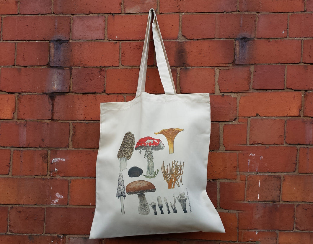 Fungi bag by Alice Draws The Line, 100% recycled, reusable bag. Mushroom Tote bag, matching cards, mugs and stickers available. Fly Agaric.