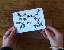 Load image into Gallery viewer, Holly and Ivy Illustrated Christmas Card packs by Alice Draws the Line, Botanical Illustration Christmas Card