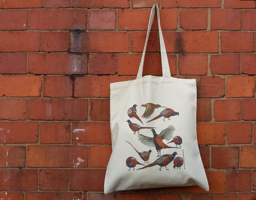 Pheasants bag by Alice Draws The Line, 100% recycled, reusable bag. A range of pheasants illustrated on a tote bag- an easy to post gift