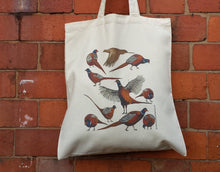 Load image into Gallery viewer, Pheasants bag by Alice Draws The Line, 100% recycled, reusable bag. A range of pheasants illustrated on a tote bag- an easy to post gift