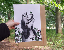 Load image into Gallery viewer, New Baby gift - Badgers and Blackberries print by Alice Draws The Line featuring an adult & baby badger. Printed on A4 recycled card.