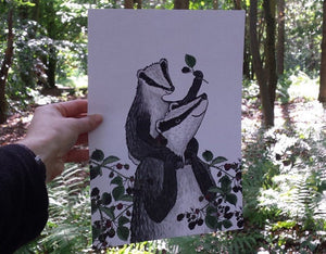 New Baby gift - Badgers and Blackberries print by Alice Draws The Line featuring an adult & baby badger. Printed on A4 recycled card.