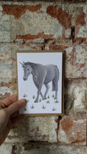Load image into Gallery viewer, Unicorn birthday card by Alice Draws The Line. Blank inside, this card features a unicorn drawing in ink, watercolours & watercolour pencil