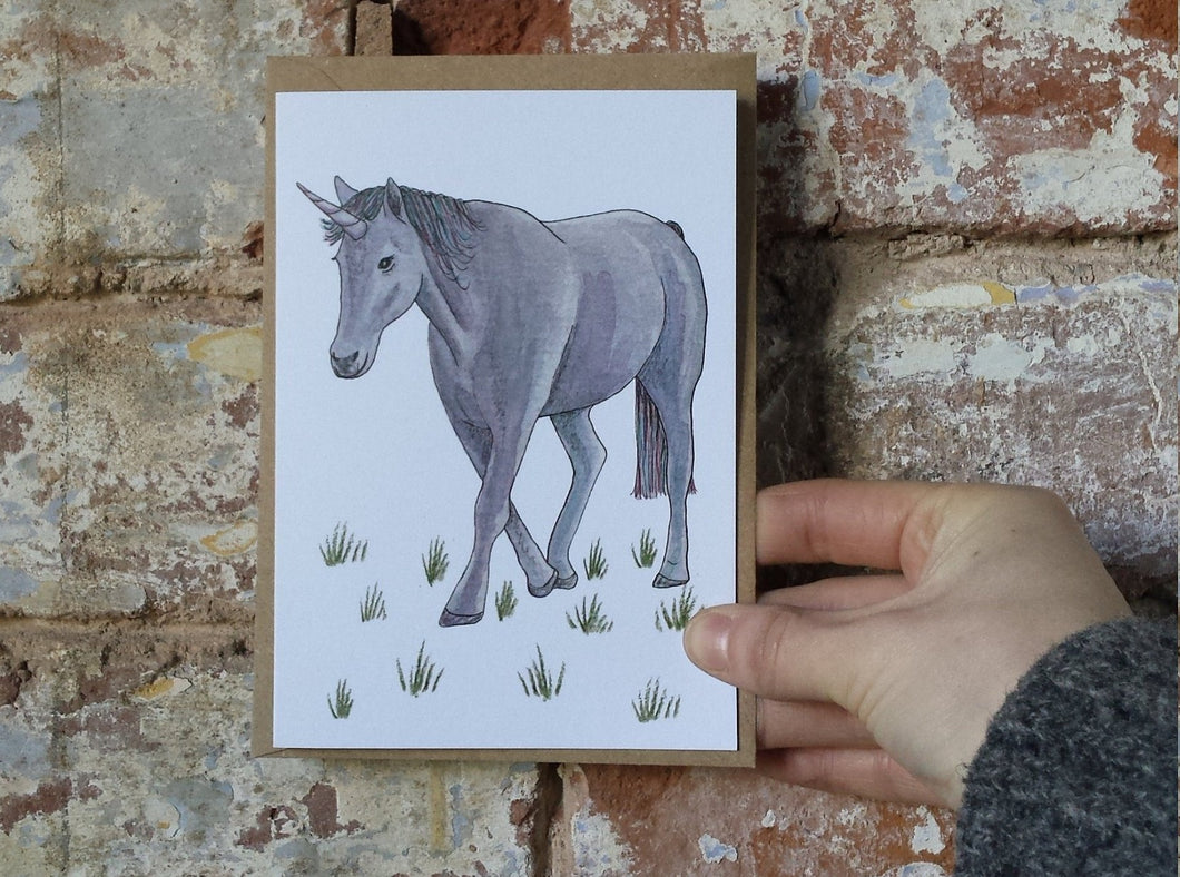 Unicorn birthday card by Alice Draws The Line. Blank inside, this card features a unicorn drawing in ink, watercolours & watercolour pencil