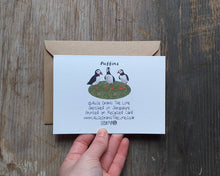 Load image into Gallery viewer, Puffins on a cliff greeting card by Alice Draws The Line