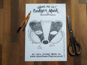 Colour in Badger mask by Alice Draws the Line -a woodland animal face that you download, print, colour in, cut out & dress up in!Badger mask