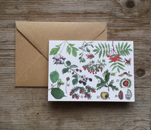 Load image into Gallery viewer, Tree-mendous autumn Greeting Card by Alice Draws The Line featuring a range of woodland finds, all identified with hand lettered labels