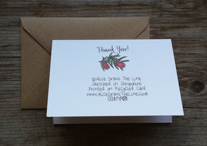 Thank Yew Thank you card by Alice Draws The Line, Blank inside, recycled card