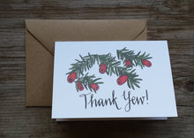 Load image into Gallery viewer, Thank Yew Thank you card by Alice Draws The Line, Blank inside, recycled card