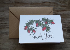 Thank Yew! A Thank You card for those with a love of Trees, Woodland and Nature by Alice Draws The Line