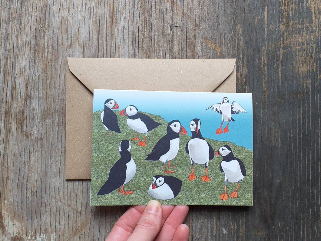 Puffins on a cliff, greeting card by Alice Draws The Line