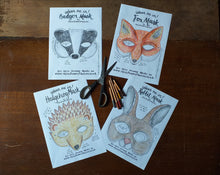 Load image into Gallery viewer, Colour in Badger mask by Alice Draws the Line -a woodland animal face that you download, print, colour in, cut out & dress up in!Badger mask