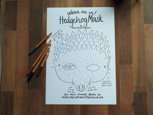 Printable Colour in Hedgehog mask