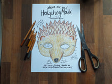 Load image into Gallery viewer, Colour in Hedgehog mask by Alice Draws the Line -a woodland animal face that you download, print, colour in, cut out & dress up in!Printable
