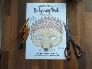 Colour in Hedgehog mask by Alice Draws the Line -a woodland animal face that you download, print, colour in, cut out & dress up in!Printable