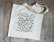 Load image into Gallery viewer, Honey Bee tote bag by Alice Draws The Line, 100% recycled, reusable bag. A choice of designs available including botanical illustrations