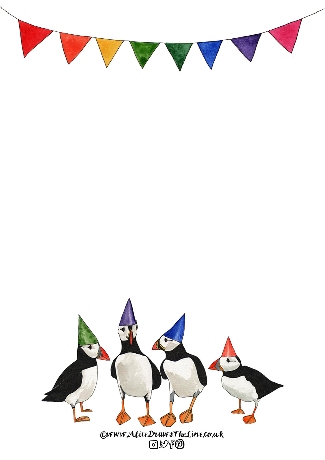 Printable Puffin A4 Puffin Letter Paper with rainbow bunting