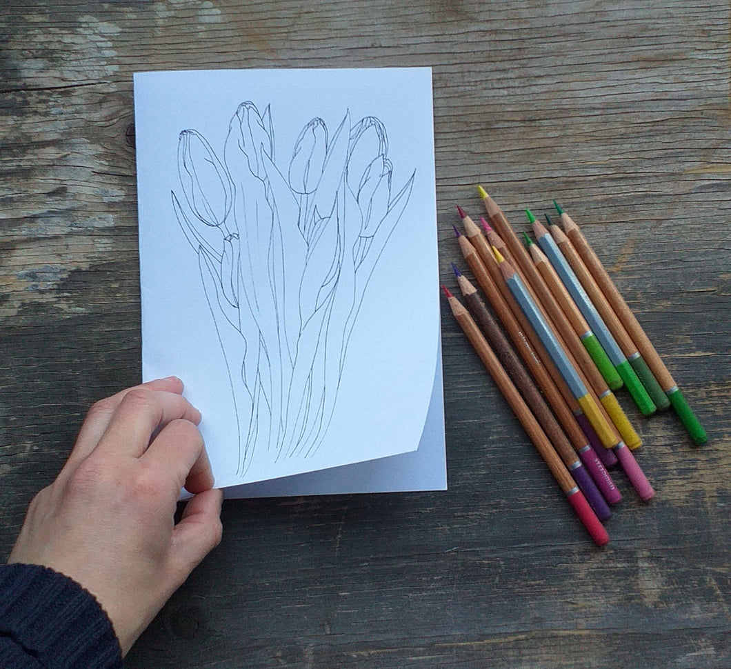 Printable Colour in Tulip card