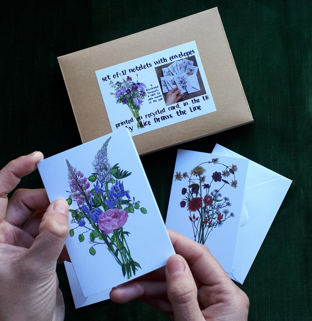 Set of 12 notelets by Alice Draws the Line, illustrated bouquets for each month of the year