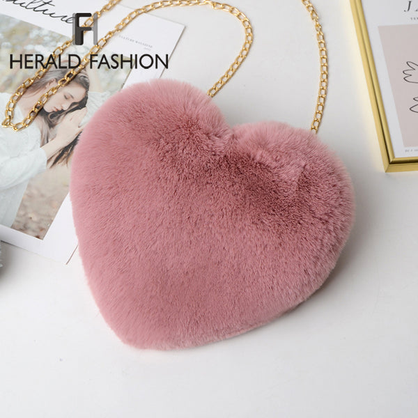 Fashion Women's Heart Shaped Faux Fur Crossbody Wallet Purse Mini Chain Female Shoulder Crossbody Bag Office Ladies Handbag